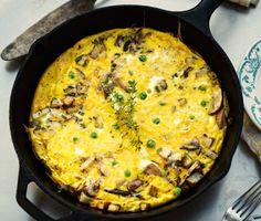 frittatas, food, mushroom frittata, pea recip, wild mushrooms, green onions