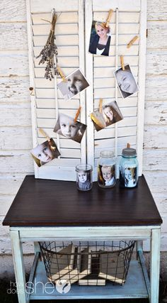 7 DIY ways to display pics. Cool idea for birthday party to display Sofia's pics