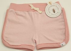 Burt's Bees Baby™ Girl's Rugby Shorts ~Pink/Rose & White Striped ~Organic Cotton #BurtsBeesBaby #Shorts #Everyday