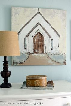 Country Church Painting for a Farmhouse Bedroom oilpainting churchpainting wallart canvasart countrydecor Diy Wall Art, Diy Art, Canvas Wall Art, Diy Painting, Painting & Drawing, Painting Classes, Farmhouse Paintings, Country Paintings, Art Paintings