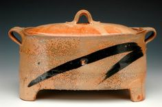 Laura Ross, Shino Baker with Lid Ceramic Pottery, Ceramic Art, Incredible Gifts, Pottery Classes, Contemporary Ceramics, Jar Lids, Wood Turning, Objects, Artisan