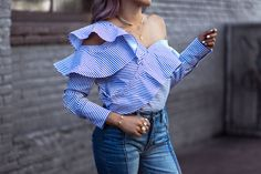 Asymmetric off the shoulder top with ruffles on Frank Vinyl #selfportrait #streetstyle #ruffles