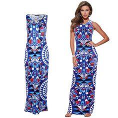 Women Summer Sexy Slim Print Long Maxi Boho Beach Dress Sundress