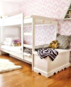 Carlotta and Concha's Pretty Patterned Room — Shared Room Tour Ikea Bunk Bed, Murphy Bed Ikea, Bunk Beds, Ikea Beds, Bunk Rooms, Sibling Bedroom, Girls Bedroom, Room Girls, E Room