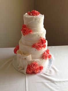 Wedding Cake - Coral Roses & Lace