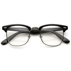 Vintage Inspired Classic Half Frame Nerd Wayfarers UV400 Clear Lens Glasses #MJBoutique