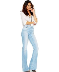 7 For All Mankind High-Waist Flared Jeans, Light Sky Blue Wash