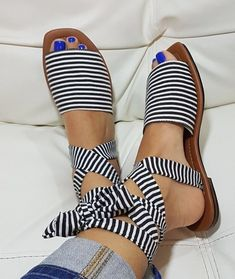 These are fabulous sandals — love the stripes and ties.