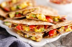 Turkey Bacon Breakfast Quesadilla is an easy and healthy 15 minute recipe perfect for a light brunch, with whole wheat tortillas, scrambled eggs and Mexican cheese. #Breakfast #Quesadilla #Healthy Breakfast Quesadilla, Mexican Breakfast Casserole, Bacon Breakfast, Crockpot Breakfast Casserole, Breakfast For Dinner, Healthy Breakfast Recipes, Brunch Recipes, Healthy Recipes, Healthy Foods
