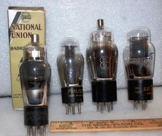 Nat Union 57, Philco 27,Nat Union 35/51 and a Raytheon 45, Vacuum Tubes by ourPastourFuture on Etsy