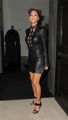 Nicole Scherzinger No Longer Speaks to Ex Lewis Hamilton: Photo Nicole Scherzinger rocks a black leather dress while stepping out for dinner at Mr. Nicole Scherzinger, Sexy Dresses, Cute Dresses, Sexy Latex, Leather Dresses, Celebs, Celebrities, Leather Fashion, Sexy Legs