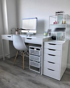 A clean look that's easy to like and mix with other styles, either supporting a desk or standing alone. The back is finished so you can place it in the middle of the room – all sides are just as beautiful. Study Room Decor, Cute Room Decor, Room Design Bedroom, Room Ideas Bedroom, Ikea Room Ideas, Home Office Setup, Home Office Design, Interior Office, Office Ideas