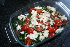 Low Carb - Grip op Koolhydraten: Spinazie Gehaktschotel Spinach Dinner Feta Goatcheese Tomato Meat I Love Food, A Food, Good Food, Low Carb Recipes, Real Food Recipes, Healthy Recipes, Healthy Diners, Yummy Veggie, Oven Dishes