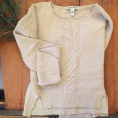 Autumn Cashmere • Cashmere Basket Weave Top Beautiful cashmere sweater, imported Italian yarn. Semi-bell sleeves with detailed woven design. Extremely soft and luxurious. Good to fair condition b/c of some fabric piling along the hem and sleeves. Labeled Small, loose fitting style. Autumn Cashmere Sweaters Crew & Scoop Necks