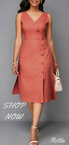 Button Detail Zipper Back V Neck Dress,nice color,nice design,juest buy it - Cv Resumes - CV Examples - Resume Examples - Resume Images Linen Dresses, Sexy Dresses, Cute Dresses, Beautiful Dresses, Casual Dresses, Formal Dresses, African Fashion Dresses, African Dress, Fashion Outfits