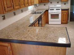 tiled counter tops | Granite Tile countertops in diagonal pattern .