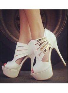 Deluxe White Sequin Peep Toe Platform Heel Girl Women Wedding Shoes
