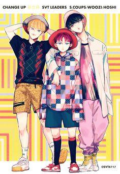 Seventeen Leader, Hoshi Seventeen, Seventeen Debut, Vernon Chwe, Seventeen Scoups, Kpop Drawings, Seventeen Wallpapers, Fanarts Anime, Korean Art