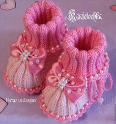 Купить Пинетки для новорожденной. - розовый, пинетки ручной работы, пинетки спицами, пинетки купить