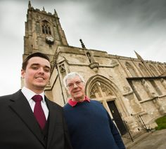 Jack Hanlon with Andrew Frost outside St Oswald's Hartlepool