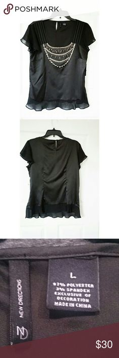 NWT New Directions Embellished Blouse New with tag. Size L. Materials on last pic. new directions Tops Blouses