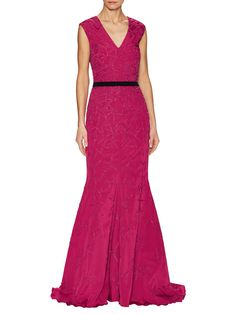 All Over Embroidered V-Neck Gown