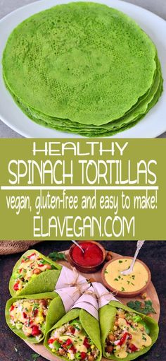 Homemade spinach tortillas with 3 ingredients only (water and salt not counted). This recipe is healthy, gluten-free, ve Spinach Tortilla Wraps, Vegan Tortilla, Tortilla Recipe, Healthy Tortilla Wraps, Healthy Meals To Cook, Good Healthy Recipes, Raw Food Recipes, Vegan Recipes Spinach, Freezer Recipes