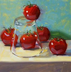 """Daily Paintworks - """"Standing on the Edge"""" - Original Fine Art for Sale - © Jiyoung Kim Apple Painting, Food Painting, Oil Painting Techniques, Still Life Oil Painting, Nature Drawing, Fairytale Art, Fine Art Auctions, Paintings I Love, Fruit Art"""