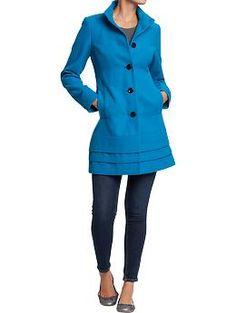 Women's Pleated Wool-Blend Coats | Old Navy