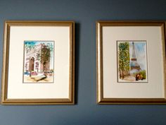 my daughter and I bought these watercolors from a street artist in Paris a couple of years ago....and I finally get to use them. I had them framed at JoAnne's.