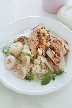 Litchi, pine nut and feta stuffed chicken breast with spring onion couscous is perfect for a filling lunch. Sweet, salty and tender! Chicken Couscous, Feta Chicken, Stuffed Chicken, Onion Bread, Recipe F, Breast Recipe, Poultry, Potato Salad, Pine