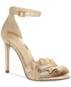 Jessica Simpson Silea Peep-Toe Dress Sandals - Gold 7.5M