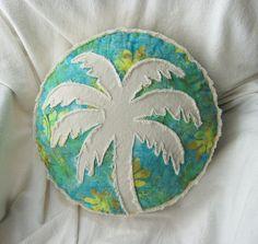 Palm tree boho pillow, peridot, aqua, and yellow batik and distressed natural denim round pillow