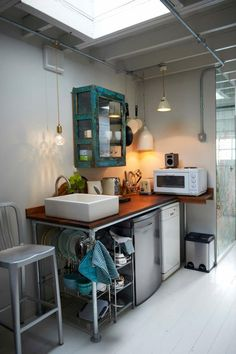 """I love the idea of an """"industrial"""" looking kitchenette. (Idea for new house. Basement Inspiration, Kitchen Inspiration, Kitchen Ideas, Tiny Spaces, Small Space Living, Apartment Living, Studio Apartment, Kitchen And Bath, Kitchen Design"""