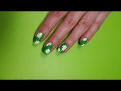 Summer Daisy Nails, One Stroke Nail Art - YouTube