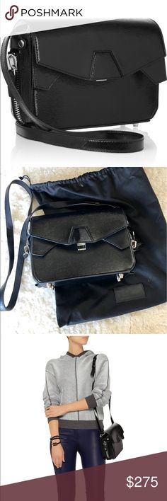 Alexander Wang black Tri-Fold shoulder bag Barely used. Excellent condition. Authentic.                 Textured patent-leather (Cow) Adjustable shoulder strap Snap-fastening side tabs, side zip fastenings, silver hardware Three internal compartments, internal zip-fastening pocket Fully lined in white leather Push lock fastening at flap front Comes with dust bag Weighs approximately 1.3lbs/ 0.6kg Alexander Wang Bags Shoulder Bags