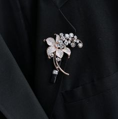 Rose Gold Boutonniere Brooch Boutonniere Rose Gold Wedding