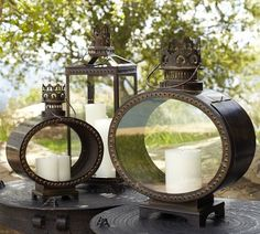 i've never seen lanterns this shape before - fantastic, this would be great on my table
