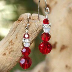 Santa Christmas Earrings Swarovski Crystal Sterling Handmade Siam Red