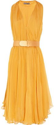 ShopStyle: Alexander McQueen Belted silk-chiffon dress