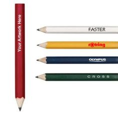 """Custom Printed Hexagonal Shaped Wooden Golf Pencils: Available Colors: Blue, Green, Red, White, Yellow Product Size: 3 1/4"""" L Imprint Area: 1/8"""" x 1-1/2"""" of 3 lines up to 25 Characters. Carton Weight: 8 lbs. Packaging: 1000 pcs. #custompencil #promotionalproduct #woodenpencil"""