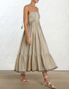 Juniper Rainbow Dress, from our Resort Swim 19 Collection, in Rainbow Stripe. Cotton blend maxi dress with adjustable shoestring tie shoulder straps, gathered empire waist, panelled skirt with side hip pockets and tassel trim at hemline. Sexy Dresses, Cute Dresses, Dress Outfits, Casual Dresses, Dresses For Work, Summer Dresses, Elegant Dresses, Sparkly Dresses, Tight Dresses