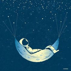 Art print astronaut in moon hammock with stars / poster, map, poster Funny Illustration, Creative Illustration, Illustration Artists, Moon Painting, Galaxy Painting, Space Drawings, Cool Drawings, Cosmos, Astronauts In Space