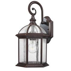 Design Traditional Wall-Mount 15.25 in. Outdoor Old Bronze Lantern with Clear Seedy Glass-18003-342 at The Home Depot