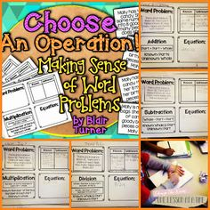 making sense of word problems. 4 problems written as close as possible yes on is multiplication, one division, one addition and one subtraction. Teaching Math, Maths, Math Problem Solving, Math Groups, Math Word Problems, Third Grade Math, Math Classroom, Classroom Ideas, Math Stations