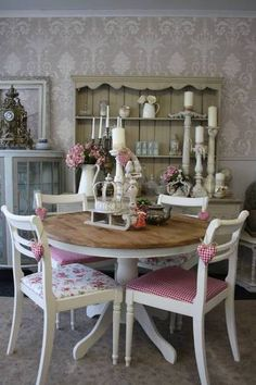Wallpapered room completely transforms the effect of this shabby chic round dining table and chairs | eBay
