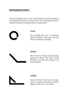 Unsere Windzeichen sind an die metereologischen Symbole angelehnt und entsprechen diesen im weitesten Sinne. Sie symbolisieren die unterschiedliche Stärke und Bedeutung des Rückenwindes.
