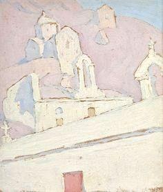 Spyros Papaloukas, Little church, Aegina Modern Prints, Art Prints, Couleur Rose Pale, Post Impressionism, Impressionist Paintings, Decoration, Wall Murals, Vintage World Maps, Abstract Art