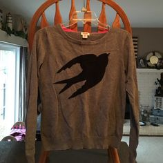 Gray sweater with black bird design Medium gray sweater with a black bird design on the front. Size medium. Worn once. Accepting offers. Mossimo Supply Co. Sweaters Crew & Scoop Necks