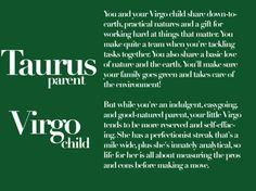 taurus parent, virgo child